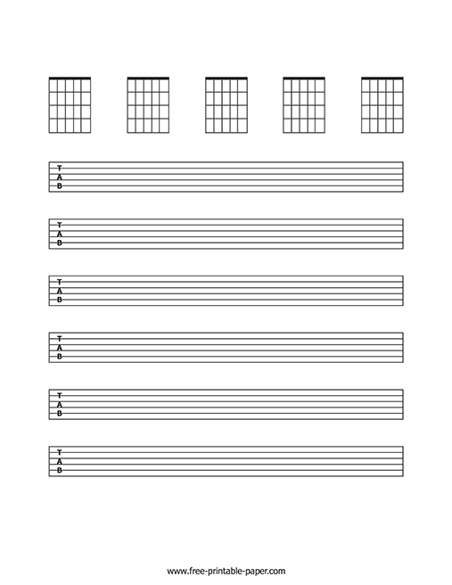 picture about Printable Staff Paper With Bar Lines identify Blank Guitar Sheet Songs No cost Printable Paper