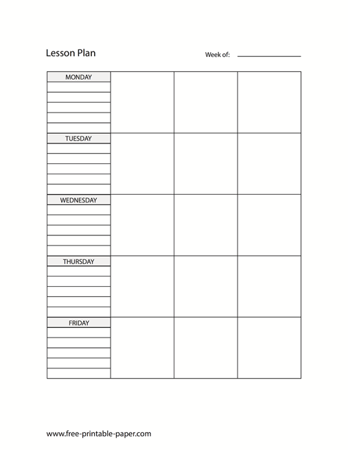 image relating to Free Printable Lesson Plans Template identified as Printable Lesson Software Template Blank Lesson Program Totally free