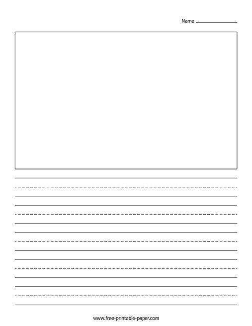free writing paper with picture box and border
